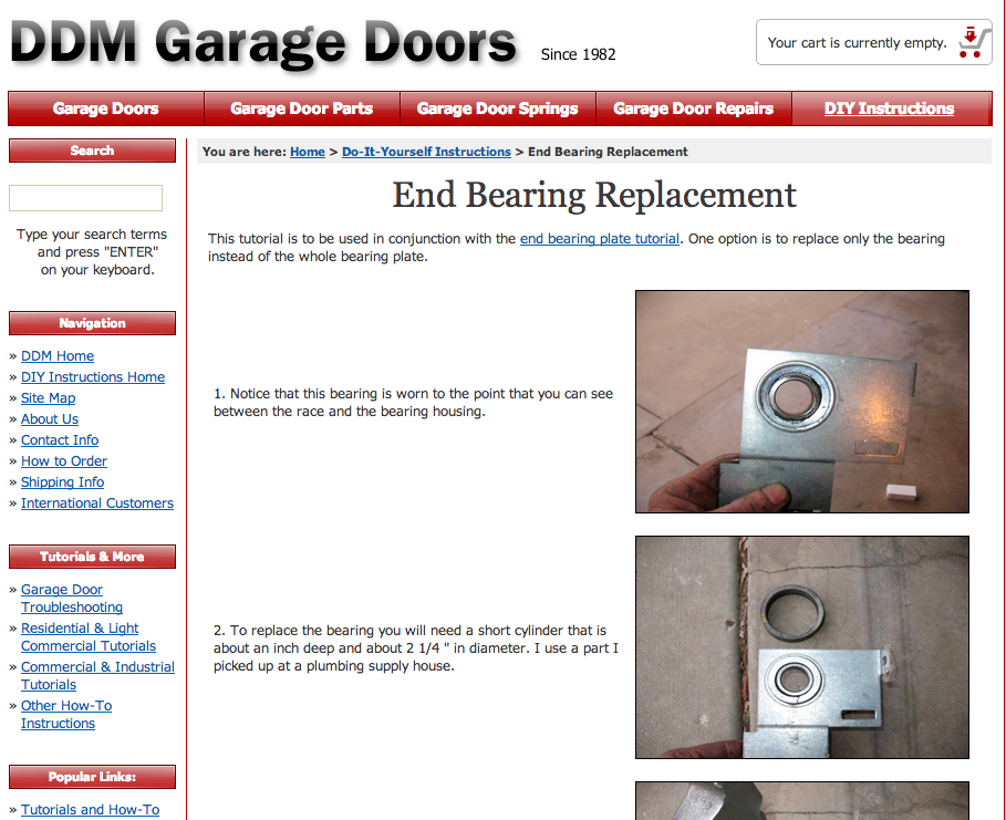 Garage Door End Bearing Replacement
